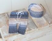 Newborn boy set of pants with matching slouchy hat Newborn Baby boy photo prop cream beige blue stripes UK seller pastel stripes