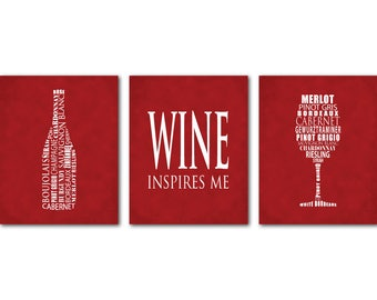 Wine Inspires Me Wall Art Trio - Wine Typography Art - Room Decor - Kitchen, Dining Room Wall Art - Dining Room Decor - wine lovers art