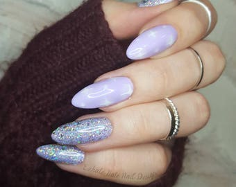 Lavender Purple Kawaii Dreamland Unicorn Holo Glitter Glue on Gel Fake Nails