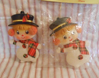 Two Vintage Celluloid Snowmen Ornaments-One Still In Bag