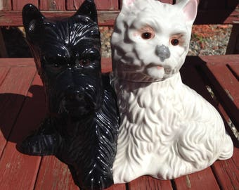 Vintage Black & White Collectable Scottie Whiskey Decanters