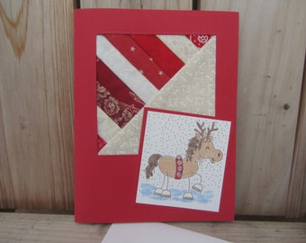Christmas Greeting Card-Christmas Quilted Greeting Card-Horse Christmas Greeting Card-Quilted Greeting Card-Handmade Quilted Greeting Card