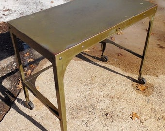 ON SALE 1940's, Vintage Industrial UHL Petite Industrial Toledo Desk. Steel Construction. Classic Industrial Petite Task Desk, Time Worn Pat