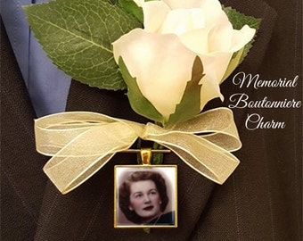 SALE! Memorial Boutonniere Charm - Personalized with Photo - Square - Silver or Gold Finish