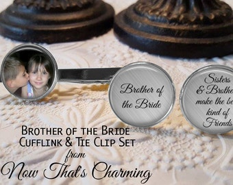 SALE! Brother of the Bride Personalized Cuff Links and Tie Clip Set - Brother of the Bride Gift