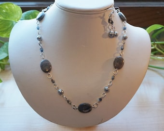 Gray Gemstone/Pearl Necklace Set, Women's Beaded Necklace