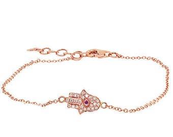 14k Gold and Diamonds with Ruby, Sapphire, or Emerald Stone Hamsa Bracelet 170-320