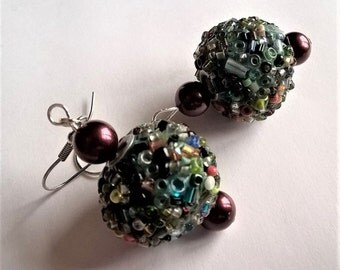Dangle Earrings: Multicolored Kashmiri Beads with Black Cherry Shell Pearls Surgical Steel Earrings