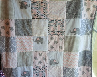 Pink and Gray Elephant Baby Quilt, Pink Elephant Nursery Quilt, Pink and Gray Crib Quilt, Elephant Nursey Bedding