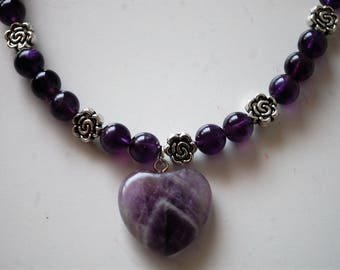 Amethyst Heart Necklace with Dark Purple and Marble Lavender Amethyst Beads with Silver Rose Spacers and Silver Toggle Clasp