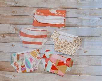 Handmade set of 4 doll diaper and wipes play set