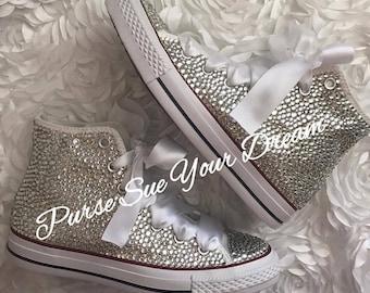 Swarovski Crystal Rhinestone High Top Converse Shoes - Wedding Converse - Custom Converse
