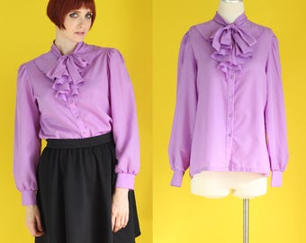 Vintage 70s Bow Blouse - Pastel Purple Blouse - Secretary Blouse - Tie Neck Blouse - Ruffle Blouse - Long Sleeve Blouse - Size Med / Large