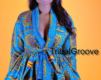 Sky - African Ankara Wax Print Wrap Jacket Top