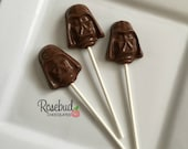 12 Milk Chocolate Darth Vader Face Mask Lollipops Birthday Party Favors Star Wars