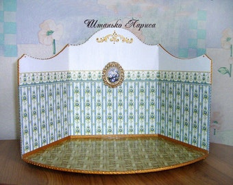 Dollhouse miniature doll collectible diorama. The roombox showcase for diorama. Decorated Display   Dollhouse miniature. 1:12 Scale