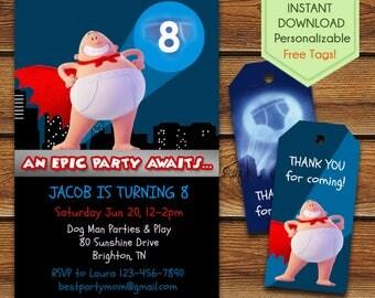 Captain Underpants Invitations, Captain Underpants Birthday Invitation, Captain Underpants Party Invite, Captain Underpants Movie