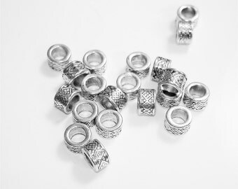 20PC Antique Silver Tone Plated Finish//5MM x 7.5MM Tube Beads//4.9MM Inner Diameter Tube Bead//DIY Jewelry Making Tube Beads