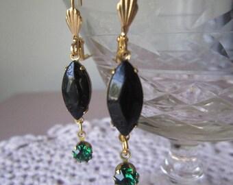 SUPER SALE Black diamond cut navet and emerald green rhinestone earrings, Emerald Romance Earrings
