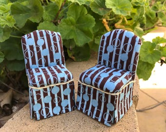 Retro Parsons Chair in Teal and Brown Polka Dots / Stripes - Dollhouse Miniature