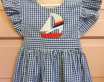 Vintage 90s samara gingham dress with flutter sleeves and sailboat, pinafore , summer dress size 6T