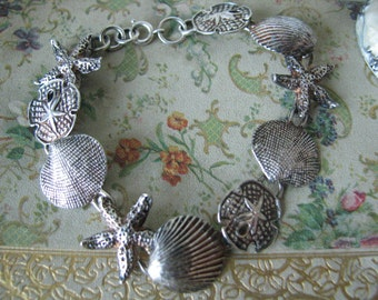 Vintage Sterling Silver Seashell Clam Shell Starfish Sand Dollar Link Bracelet Beach Jewelry Shell Jewelry