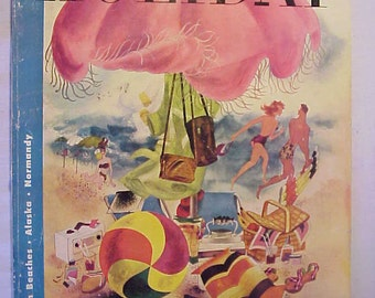 June 1948 Holiday Magazine with Pack Rat Trip on the Cover By Harry O. Diamond , Vintage Magazine with 186 pages of Ads & Articles