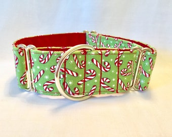 """1.5"""" Holiday Candy Cane on Green Martingale Collar"""