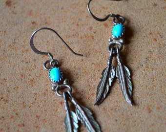 Vtg gorgeous petit 60's 70's Native American sleeping beauty turquoise sterling silver feather dangle pierced earrings