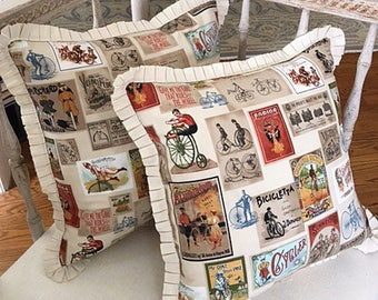 SET OF TWO:  Vintage Bicycle Pillows