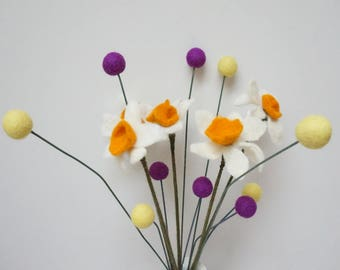 Felt daffodil narcissus pom pom flowers craspedia bouquet wool balls  purple orange yellow arrangement stem floral Easter Billy buttons