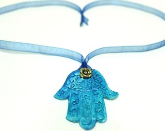 Turquoise ceramic hamsa necklace, Fatima necklace, Hand of Miryam ceramic necklace choker, ceramic jewelry, gift for her, mothers day gift