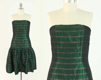 Vintage 80s Strapless Prom Dress - Green & Gold Striped Cocktail Party Dress w/ Drop Waist by Ann Tobias - Size Small
