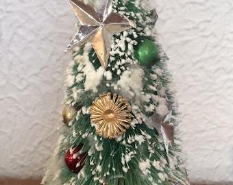 """Vintage Bottle Brush Tree Mercury Ornaments Snow Flocked 7.5"""""""