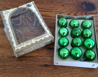 Vintage Christmas Mini Mercury Glass Ornaments 12 in Original Box