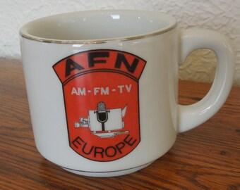 Vintage AFN Europe American Forces Network Coffee Mug 60's
