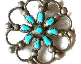 Zuni Indian Turquoise Dead Pawn Petit Point Silver Pin Brooch