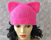 Neon Pink Pussyhat, Pussy Cat Hat, Feminist Hat,  Pink Pussy Hat, Women's March 2017, Winter Hat  Chunky Hat