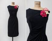 1940s Dress - Vintage 40s Black Jersey Ruched Flower Applique Dress - Drunk In Love Dress