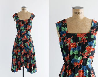 90s Floral Sundress - Vintage 1990s Black Asymmetrical Dress - All This Love Dress