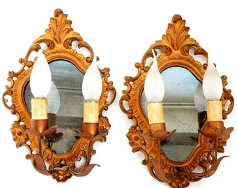 Antique Italian mirror sconces lights,Pair of Venetian gilt wood mirror wall sconces lights,pair of wood Ornate mirrors with lamps