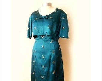 SALE Vintage dress with bolero jacket 60's, two piece set vintage dress set , turquoise dress.