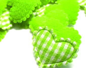 "100pcs x 3/4"" Green Gingham Cotton Heart Padded/Appliques"