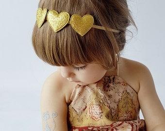 Baby Girl Headband, Gold Glitter Heart Band, Gold Headband, Glitter Heart Trio, Baby Headband Gold, Headband for Girls, Baby Bow Headband