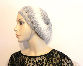 Beanie beret knitted mohair hand gray wool and off-white fashion woman accessories see matching jacket Hat winter