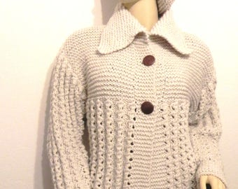 jacket vest wool mohair beige very very clear knitted hand size 38 fashion mother's more Beanie beret