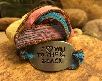 I love you to the moon and back silk wrap bracelet, graduation gifts, colorful gifts for men or women, eternal love