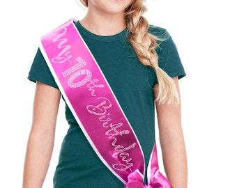 My 10th Birthday Rhinestone Sash - 10th Birthday Girl Border Rhinestone  Sash, 10th Birthday Outfit , 10th Birthday Shirt, Birthday, Bow