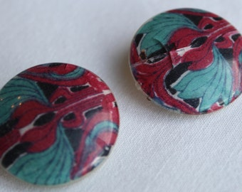 VINTAGE LIBERTY EARRINGS.Circular clip ons with Jade and Red Floral Pattern  Valentines Gift