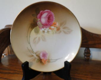 Antique Reinhold Schlegelmilch (RS) Pink Rose Flowers Plate, Germany, Collectible Floral Décor Trinket Tray